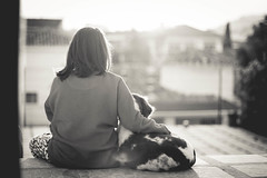 Real friend (lauraflorcar) Tags: light sunset blackandwhite espaa dog sun girl canon eos 50mm reflex andaluca spain friend truth friendship 14 luna together forever dslr mlaga apsc 450d
