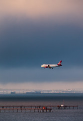 moving (angeloangelo) Tags: sanfrancisco bridge sky water clouds contrast airplane bay airport dusk sfo ships small surreal atmosphere landing virgin va landinggear airbus bayarea 5d layers approach airlines 2x a319 400mm canonextenderef2xii virginamerica canonef200mmf28lusm 5dmarkii
