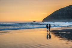 Summer sunset (Ian@NZFlickr) Tags: ocean sunset beach st reflections surf pacific dunedin surfers walkers clair