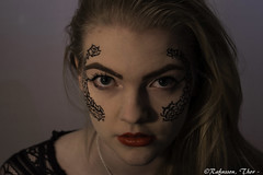 Model photoshoot (Rafnsson, Thor) Tags: people girl beauty tattoo studio model lowlight photoshoot patterns facialtattoo