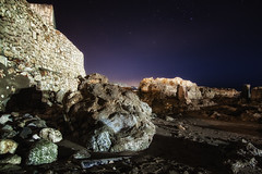 Rocks on the beach at night