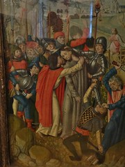 ca. 1483 - 'Betrayal of Christ, altarpiece of the Lamentation and Passion of Christ' (Master Arnt of Kalkar/Zwolle), Kalkar, Lower Rhine region, Kartuizerklooster Bethlehem, Roermond, Netherlands, Muse de Cluny, Paris, France (roelipilami) Tags: paris france netherlands museum de kiss christ mail jesus helmet chapel muse altar kettle master passion soldiers betrayal lower rhine flemish armour judas salade cluny zwolle helm roermond fer soldaten limburg baiser chartreux lamentation schaller arnt armure primitives niederrhein maitre donor altarpiece kalkar harnas arndt soldats retable 1483 sallet verraad retabel bewening kartuizerklooster deploration