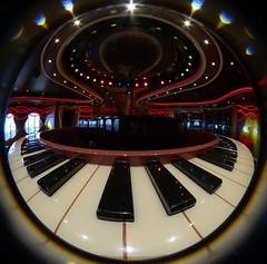 Piano Bar (Phyllis74) Tags: cruise carnival vacation music bar piano fisheye pianobar carnivaldream lensbabyfisheye