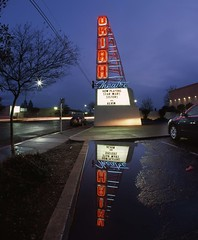 Star Wars Sisters and Alvin at the Ukiah Theatre (RZ68) Tags: california street old blue light red color reflection cars wet sign vintage movie puddle star theater neon theatre sister wide trails super fisheye velvia rainy wars provia alvin ukiah rz67 e100