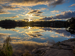 Cloud Watching (Jens Haggren (off for a while)) Tags: trees sunset sky cloud sun water rock clouds reflections landscape evening colours olympus em1 jenshaggren