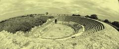 Ancient Amphitheatre (elcoprouk) Tags: white black monochrome architecture landscape ancient angle roman wide amphitheatre fisheye