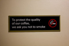 To protect the quality of our coffee, we ask you not to smoke (Dai Lygad) Tags: coffee caf sign photo image quality picture coffeeshop smoking health photograph nosmoking cigarettes publichealth nosmokingsign smokingforbidden smokingandcoffee