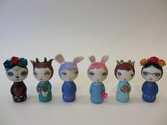 custom kokeshi wood peg dolls (amber leilani) Tags: kokeshi woodpegdoll