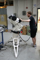 """Leeav setting up the telescopes ground-testing mount • <a style=""""font-size:0.8em;"""" href=""""http://www.flickr.com/photos/27717602@N03/26775732220/"""" target=""""_blank"""">View on Flickr</a>"""