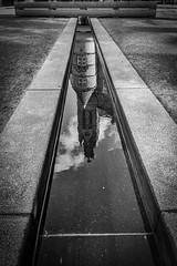 Through A Mirror, Darkly (dolbinator1000) Tags: street city uk sky urban bw cloud white black reflection building water architecture clouds reflections reflecting mono birmingham noir cloudy geometry centre bn reflect blanc cumberland reflects engalnd blancetnoir