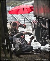 Fancy Umbrella (channel packet) Tags: railroad pink umbrella work bosnia railway steam locomotive mechanic workshops davidhill banovici