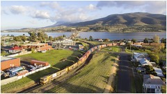 Trains In Tasmania - TR02 + TR03 Train 2-32 Bridgewater Junction. (Trains In Tasmania) Tags: train river scenery view scenic australia scene aerial caterpillar vista tasmania tr 232 freighttrain drone papertrain goodstrain derwentriver no32 diesellocomotive riverderwent tasrail dji tasmanianscenery tr02 trclass bridgewaterjunction trainsintasmania stevebromley djiphantom3standard phantom3standard