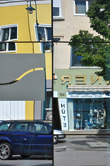 Weinviertel Niederosterreich Mistelbach DSC_0057 (reinhard_srb) Tags: auto rot fenster strasse gelb grn blau rathaus parkplatz spiegelung spiegelbild baum niedersterreich bunt fassade geschfte farben handel verkehrsschild einkauf fussgngerzone weinviertel verzerrung auslage gehsteig mistelbach gegenber seitenverkehrt