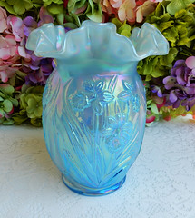Fenton Art Glass Vase Daffodil Opalescent Iridescent Sky Blue (Donna's Collectables) Tags: blue sky art glass daffodil vase iridescent fenton opalescent