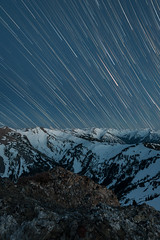 Far Away - Olympic NP (Gabriela Fulcher Photography) Tags: blue winter light sky mountain snow motion mountains cold nature beautiful night landscape photography star long exposure time outdoor space trails astronomy starry