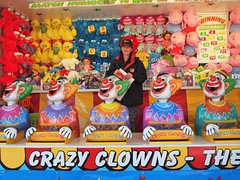Crazy Clowns - Melbourne Show (JohnVenice) Tags: girl toys bigbird circus australia melbourne fair games showgirl sesamestreet stuffedtoys clowns peppapig cookiemonster amusements sideshows chants crazyclowns chantsamusements