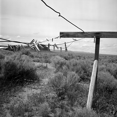 Homestead dryer (ASHLANDJET) Tags: blackandwhite abandoned 120 tlr film monochrome oregon analog rolleiflex mediumformat xp2 highdesert vintagecamera homestead ilford 35e planar fortrock