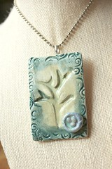 High Tea Gypsy Jewelry (Suzie the Foodie http://suziethefoodie.blogspot.co) Tags: etched tree green birds ceramic high with nest tea handmade background jewelry it front made frame then mold gypsy attached swirly pendant rectangular pressed pentant i