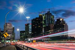 City Lights Sydney (600tom) Tags: beautiful night buildings traffic dusk magic awesome sydney vivid australia cranes hour freeway streaks bluelight peakhour tailights lightflair