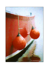 Red Buoys (Emet Martinez Photography) Tags: red reflection analog canon boat capecod 35mmfilm impressionism nautical impressionist hyannis photopainting impasto redbuoys photoartwork emetmartinez topazsoftware emetmartinezphotography emetmartinezcom topazimpression