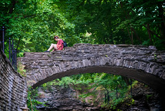 Evening at Cascadilla Gorge I (agladshtein) Tags: cornelluniversity ithaca newyork ny tompkinscounty dusk sunset students sonya7r2 nikkor85mmf18g nature water bridge waterfall summer hiking green trees