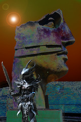 Life Is Unreal (Smith-Bob) Tags: out outside outdoors street pompeii surreal unreal warrior face sculpture italy italia europe cosplay wow worldofwarcraft soldier guard femalewarrior sword weapon defend