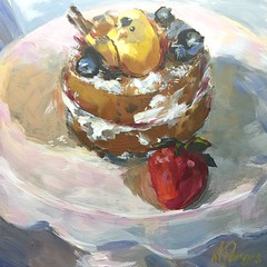 Babycake (MaryPargas) Tags: fineart impressionist bird cake dailypainting stilllife