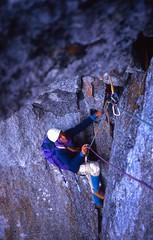 Cracked Chimneys Above the Vire des Allemands, Petit Dru West Face (andywalker1) Tags: andrewwalker americandirect dru petitdru chamonix alps alpineclimbing