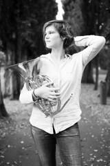 (Petar Stoykov) Tags: girl portrait portraiture photoshoot rotterdam netherlands posing modeling music musician horn bnw blackandwhite monochrome 1dsmarkiii 1dsmark3 50mm fullframe park outdoors naturallight shapes bokeh