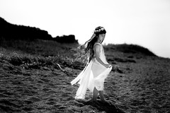 White Dress (otonasoto) Tags: beach dress littlegirl child girl canon 6d 85mm monochrome portrait fashion