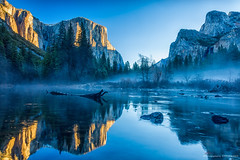 First Light (eramos_ca) Tags: reflection landscape nationalpark yosemite elcapitan bridalveilfalls valleyview mercedriver gatesofthevalley elcaps