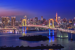 Rainbows Over the Tokyo Bay (45tmr) Tags: tokyo twilight cityscape nightscape pentax 東京 lighttrails 夜景 k3 光跡 pentaxk3
