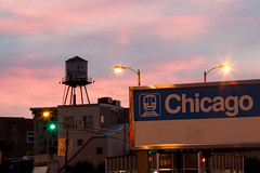 Chicago Plate 107 (Cycle the Ghost Round) Tags: city pink blue sunset summer urban orange usa chicago classic beautiful sign illinois perfect colorful industrial cta purple sundown dusk gorgeous awesome unitedstatesofamerica watertower dramatic el calm stunning l watertank westtown canonef24105mmf4lisusm canon5dmarkiii