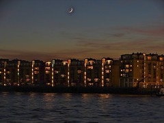 Moon River (Deepgreen2009) Tags: sunset moon london thames river evening dusk crescent flats canarywharf