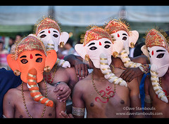 performing Indian Ganesha elephant mask dancers (jitenshaman) Tags: show india elephant festival thailand ganesha dance costume artist dancers mask stage indian thai ganesh trunk perform mumbai performers kolkata namaste performingart