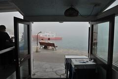 La niebla inesperada (Miguel ngel Yuste) Tags: sea mer restaurant mar banco niebla brouillard costabrava banc cadaqus