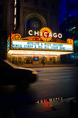 Chicago Theater (Erik Lykins) Tags: lighting street city travel light urban usa chicago reflection building tourism wet sign night america buildings walking outside marquee outdoors lights evening illinois midwest downtown cityscape exterior unitedstates loop outdoor unitedstatesofamerica sightseeing arts cities landmark icon tourist tourists illuminated historic il rainy american nightime photowalk chase northamerica historical nightlife lit chicagoloop baroque iconic touristattraction attraction attractions cookcounty urbanscenes chicagotheater 2014 windycity theaterdistrict historicbuilding travelphotography nationalregisterofhistoricplaces northernillinois 20mmf28 placeofinterest traveldestination d7000 outofchicagoconference 175nstate chicago2602