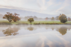 Ethereal Dawn (Vemsteroo) Tags: morning autumn trees mist lake reflection nature water beautiful fog sunrise canon landscape dawn countryside soft northamptonshire scenic ethereal 5d autumnal atmospheric corby beautyinnature 24105mm
