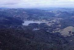 Bon Tempe Lake and Lake Lagunitas (MMWD) from Mount Tamalpais (birdgal5) Tags: california marincounty millvalley 35mmslide marinmunicipalwaterdistrict mounttamalpaisstatepark lakelagunitas bontempelake march1980 mmwd 55mmf35micropc nikkormatel mounttamalpaissp eastpeakofmounttamalpais