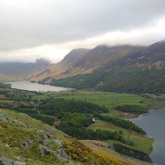 Buttermere from Rannerdale Knott (gowersaint) Tags: above trees england mist mountains weather clouds rural landscape countryside high movement woods view britain farm altitude shoreline lakes lakedistrict shore cumbria fells fields below peaks hillside picturesque crummockwater buttermere birdeyeview