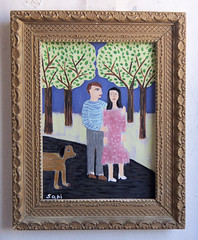 "#1331 ""Couple"" (sariart2) Tags: original trees dog abstract art self painting landscape couple acrylic raw folk ooak naive sari primitive childlike azaria noy taught"