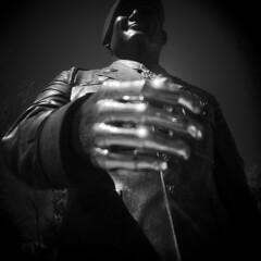 Santa Fe #24 (LowerDarnley) Tags: city urban newmexico santafe southwest statue metal soldier holga hand nm
