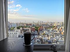 tea first (DigitalLyte) Tags: window japan tokyo view tea asakusa taito sensojitemple 5storypagoda
