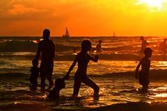 my daughters bathing in the sea at sunset - Tel-Aviv beach (Lior. L) Tags: sunset sea beach telaviv silhouettes bathing goldenhour goldensea bathinginthesea