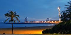 Barcelona Beach (MarcelGermain) Tags: barcelona longexposure beach night hotel evening sand mediterranean w catalonia palmtree barceloneta beaches catalunya bluehour hotelvela