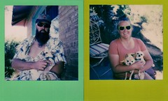 coktails on the porch with chihuahua mascots (EllenJo) Tags: arizona home yard polaroid polaroid600 2016 may23 instantfilm polaroidjobpro ellenjo colorframe ellenjoroberts impossibleproject theimpossibleproject may2016