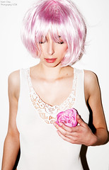 Pink (Katrin Ches) Tags: light portrait flower beauty female photography model flash lingerie reouch