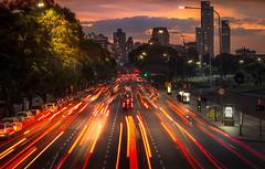 Libertador avenue, Buenos Aires (maxem fotos) Tags: sunset argentina night lights avenida buenos aires trail avenue libertador