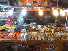 fish (PJHarrison) Tags: street travel food singapore southeastasia market malaysia dining satay hawkers skewers