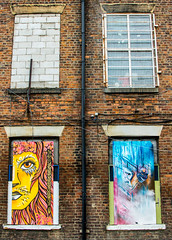 lion and drama 4 windows (PDKImages) Tags: urban streetart art mill abandoned beauty lady contrast manchester graffiti eyes colours anger lips fortune hidden angry drama fortuneteller unexpected teller liom